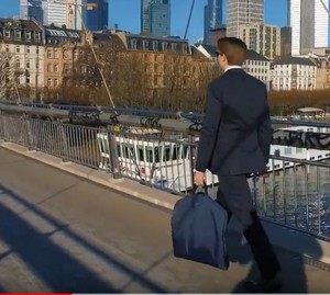Man with Garment Bag for Suits